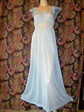 Vintage Van Raalte 1950's Blue Sheerio Nylon Tricot Lacy Nighty Nightgown 32