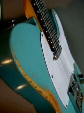Heavy relic distressed tele style electric guitar - vintage blue