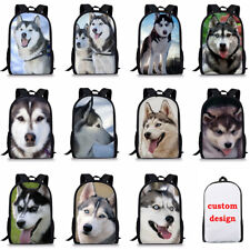 Fashion Husky Dog Backpack Girls Boys School Bag Men Shoulder Travel Rucksack