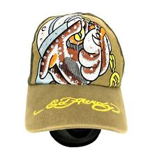 Ed Hardy Trucker Hat Snapback Rhinestone Bulldog Bull Dog Mesh Back Cap Brown