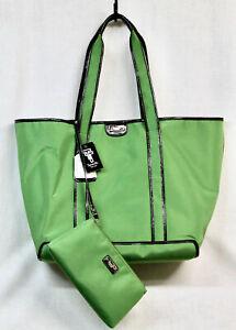NWT TIGNANELLO XLarge Green Nylon Tote Shopper Matching Zip Pouch & Key Fob