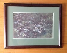 Forest Greenery Foliage Floral Wooden Framed Print Painting Matted/Signed 19X14