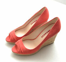 GORGEOUS PRADA CORAL color suede open-toe WEDGES shoes 38 US 8 EUC Free ship!