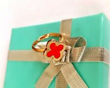 Fashion Rose Gold Red Flower *Four-leaf Lucky Clover* Adjustable Ring