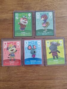 Lot of Five Never Scanned Animal Crossing Amiibo Card in Sleeve and Top Loader