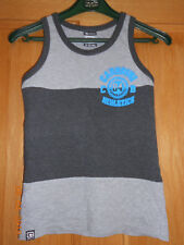 Boys Carbrini Grey Vest T-shirt Top Age 8-10 Years Turquoise Logo Lettering