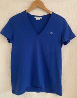 Lacoste Royal Blue Short Sleeve Vneck Tee T- Shirt Women's Alligator Logo S 42