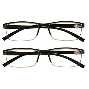 2 Packs Mens Rectangle Half Frame Reading Glasses Black Spring Hinge Readers