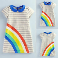 Loverly Kids Girls Short Sleeve Cartoon Sundress Summer Striped Mini Dress 2-6 Y
