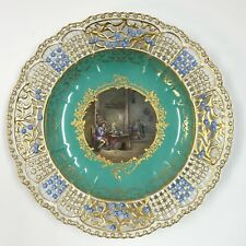 Beautiful 19th C. Meissen Hand Painted Cake Plate