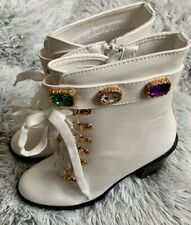 White Glossy Platform Boots With Gems