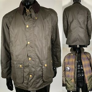 Barbour Ashby Waxed Men's Jacket Coat Olive Green Size UK L 42-44 in