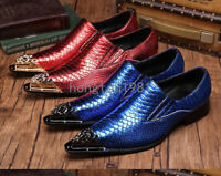 Hot Chic Mens Groom Metal Pointed Toe Wedding Formal Leather Business Shoes US