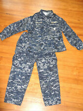 USN Blue Digital CAMO UNIFORM WORK Blouse Medium Regular Pants Medium Short NAVY
