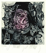 Ex libris Leo Bednarik, signed etching, very large size, 2 colors