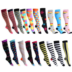 Unisex Compression Long Socks Colorful Sox Sports Medical Calf Support Stockings