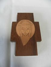 Vintage Wood and Copper Metal Wall Hanging Cross Jesus West Germany (A5)