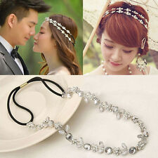 Fashion Women Elastic Rhinestone Jewelry Head Band Hair Wedding Flower Bridal