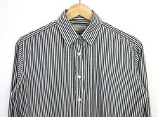 "Aquascutum Mens Long Sleeve Double Cuff Grey White Striped Cotton Shirt - 36"""