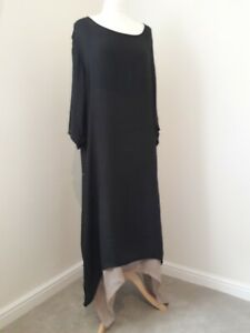 ANSELF Lagenlook Maxi Dress * Black & Beige * Pagan Witchy Goth * Sz 4XL
