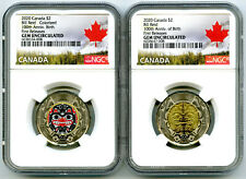 2020 $2 CANADA NGC GEM UNC TOONIE BILL REID TWO DOLLAR MATCHED 2-COIN SET - FR !