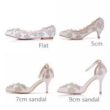 Gorgeous Wedding White Ivory Crystal Party Bridal Bridesmaid Sandal Flat shoes