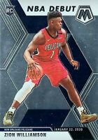ZION WILLIAMSON SP NBA DEBUT RC 2019-20 PANINI MOSAIC BASKETBALL PELICANS ROOKIE