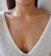 Gold Necklace Set, Long Lariat Necklace, Y Necklace, Cubic Zirconia Necklace