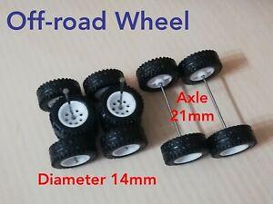 3 Sets 1/64 Scale CUSTOM WHEELS Hot Wheels Rubber Wheels Off-road White 14mm