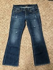 Silver Women's Jeans 29 Lola Thick Stitch Distressed Destroyed