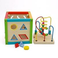 5 In 1 Wooden Learning Bead Maze Cube Activity Center Study Educational Toy US