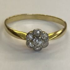 Fine Antique Solid 18ct Solid Gold Diamond Rose Cluster Ring Size R
