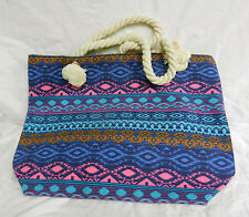 Large French Style Blue Ethnic Pattern Beach Bag / Overnight Bag - BNWT