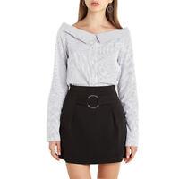 HaoDuoYi Women Stripe Blouse Long Sleeve Button Up Shirt Casual Off Shoulder Top