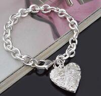 """925 Sterling Silver Small 7""""  Women's Photo Locket Link Chain Bracelet D551C"""