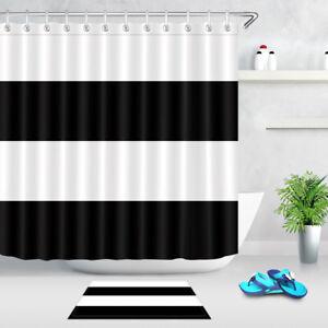 Black & White Stripes Shower Curtain Liner Polyester Fabric Hooks Bathroom Mat