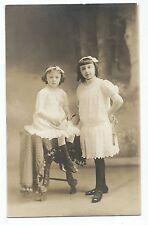 BM801 Carte Photo vintage card RPPC Enfants fillette Robe blanche mode fashion