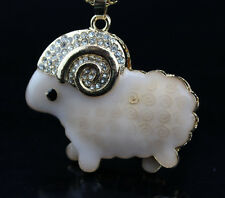 AF300 Betsey Johnson Crystal Anime Little Sheep Pendant Sweater chain Necklace