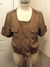 BCBG MAX AZRIA NWOT WOOD BROWN BOLERO LINED JACKET IN MEDIUM