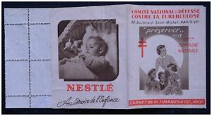 CARNET TIMBRES TURBERCULOSE 1955 NESTLÉ CROIX LORRAINE CINDERELLA POSTER STAMPS
