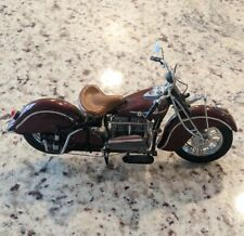 1942 Indian 442 Motorcycle Die Cast Bike Franklin Mint 1:10 Red Maroon Leather