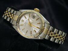 Rolex Date Ladies 2Tone 14K Gold Stainless Steel Watch Jubilee Silver Dial 6917