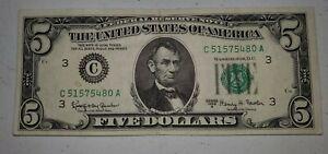 1963A $5 Five Dollar Bill Federal Reserve Note C 51575480 A