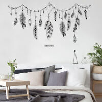 Feather Banner Wall Sticker Home Decal Living Room Background Decor Removable