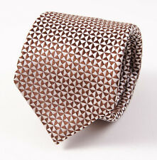 New $225 ISAIA NAPOLI 7-Fold Woven Brown-Platinum Pattern Silk Tie Necktie