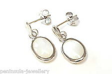 9ct White Gold Mother of Pearl Drop earrings Gift Boxed Made in UK