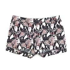 H&M Womens Black White Snake Print Stretch Flat Front Casual Knit Mini Shorts 6