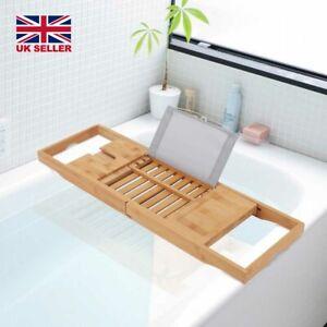 New Bath Caddy Tray Bamboo Bathtub Organizer Wine Tablet Holder Adjustable