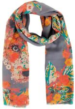 Fox Scarf Grey Yellow Orange Green Flowers Powder Floral Fox Ladies Wrap Shawl