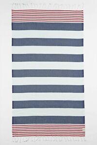 "EVE & AL 39""x73"" Marine Stripe Turkish Cotton Beach Yoga Towel - Navy Blue & Red"